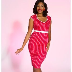 Pinup Couture Hearts Striped Wiggle Dress